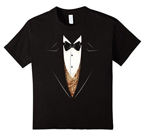 Kids Tuxedo with Bowtie T-Shirt Stylish Funny Shirts 12 Black (Youth Tuxedo)