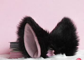 Lolita Anime Cosplay Costume Fluffy Long Fur Party Neko Cat Ears Hair Clip Black