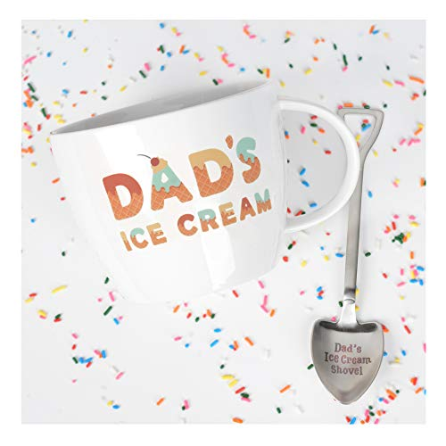 Gifts for Dad -Dad's Ice Cream Bowl and Engraved Spoon Dad's Ice Cream Shovel - Ideal Father's Day Gift, Christmas Gift or Birthday Gift by Josephine on Caffeine -