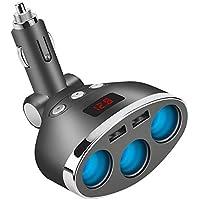 AOGUERBE 3 Puertos Adaptador Mechero Coche Dual USB