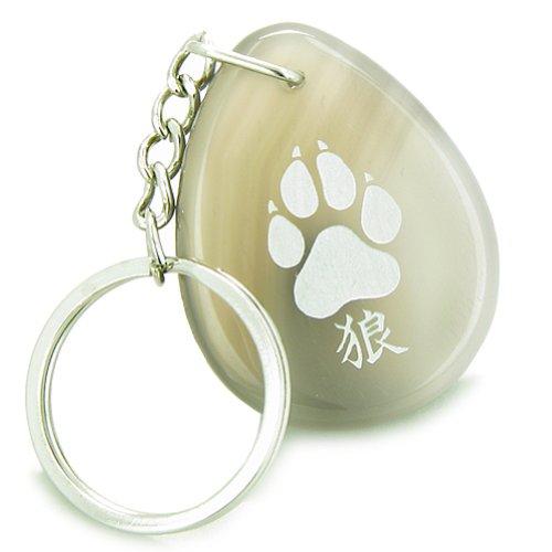 Lucky Wolf Paw Kanji Good Luck Amulet Natural Agate Wish Totem Gemstone Keychain