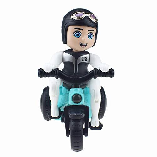 Three Wheeled Motorcycle - Afazfain Situ Rotation Electric Three-Wheeled Motorcycle Music Light Toy Children Gift (Colorful)