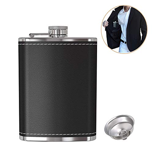 Pocket Hip Flask 8 oz with Funnel, Alcohol Flask, Liquor Flask,18/8 Stainless Steel Brown/Black Leather Pocket Drinking Flask, 100% Leak Proof, For Liquor Shot Drinking (Black)