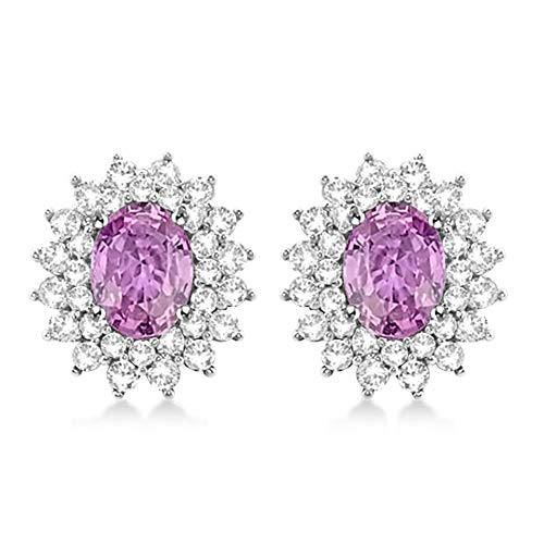Sapphire Pink Oval Earrings (Diamond Scotch Jewelry Women 5.68 Ct Oval Shape Simulated Pink Sapphire Starburst Cluster Stud Earrings for Women Girls 14k White Gold Plated)