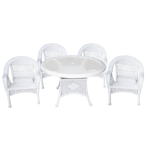 Resin 5 Piece Patio (Oakland Living AZ9999-SET-WT Traditional Outdoor and Indoor Textured Tempered Glass All Weather Resin Wicker 5 Piece 48 Inch Round Dining Set, Medium, White)