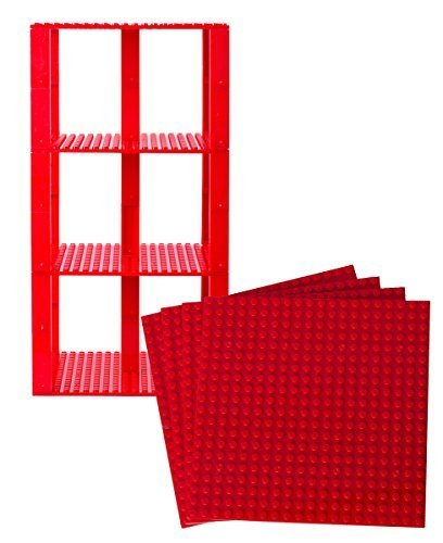 Strictly Briks Classic Baseplates 6 x 6 Brik Tower 100% Compatible with All Major Brands   Building Bricks for Towers and More   4 Red Stackable Base Plates & 30 Stackers