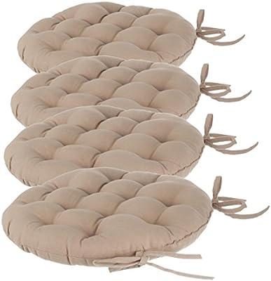 Lote de 4 Cojines redondos para silla con amarres - Diámetro 40 cm - Acolchados y 100% algodón - Color LINO: Amazon.es: Hogar