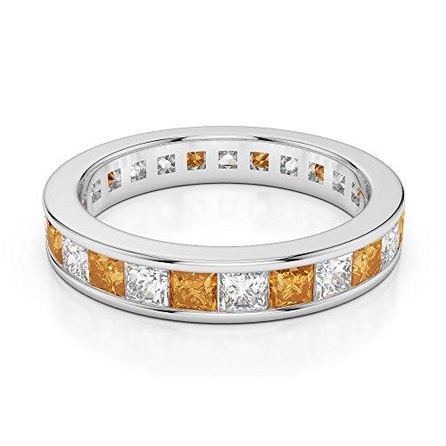 G-H/VS 1CT Coupe Princesse sertie de diamants Citrine et Full Eternity Bague en platine 950Agdr-1134
