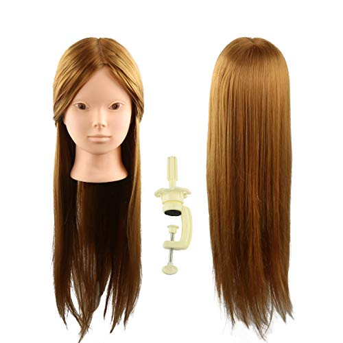 "24"" Head Mannequin for Makeup Face Painting Practice with 50% Real Human Hair, Cosmetology Hairdressing Training Braiding Doll Head Manikin Head with Free Table Clamp Stand (Brown)"
