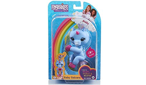 WowWee (WOWWM) Fingerlings Baby Unicorn Stella ( With Rainbow Mane And Tail) - Friendly Interactive Toy By Wow wee, Periwinkle Blue