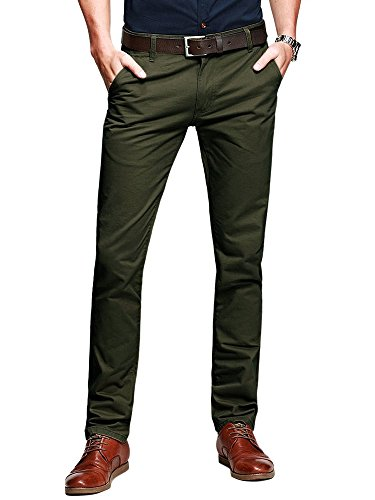 OCHENTA Men's Tapered Flat Front Casual Dress Pants Amy Green Lable 32 ()