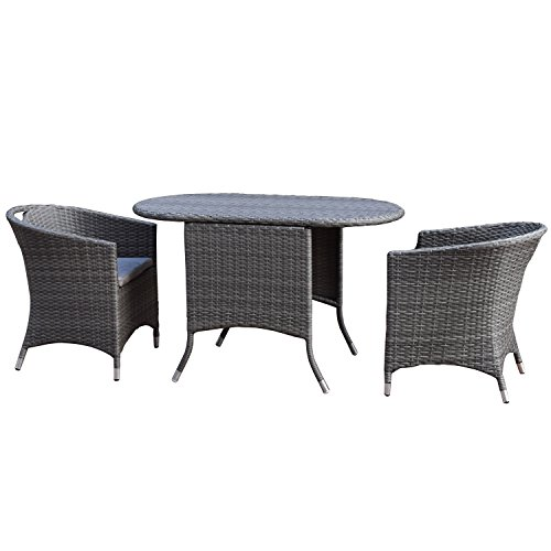 Adeco Patio Furniture Set Grey Wicker 3Piece Dinning Set with Cushion