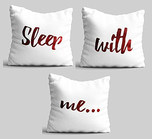 Sleep With Me Throw pillowcase Set of 3 unique home decor couples gift for engagement and wedding teens bedroom pillow cover wedding gift printed pillow cover 16x16 (Vacation Christmas National Script Lampoons)
