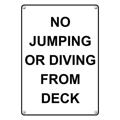 - Weatherproof Plastic Vertical No Jumping Or Diving from Deck Sign with English Text