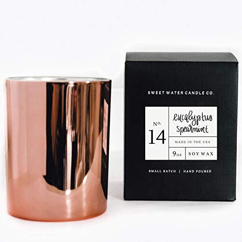 - Eucalyptus Spearmint Natural Soy Wax Candle Rose Gold Lemon Orange Parsley Lavender Spearmint Sage Woods Spa Scented Candle Made in USA Lead Free Cotton Wicks Modern Rustic Home Decor Gift For Her