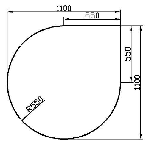 Kaminbodenplatte aus Klarglas - Eck-Variante: Tropfen b 1100 mm x l 1100 mm - kostenlose Lieferung