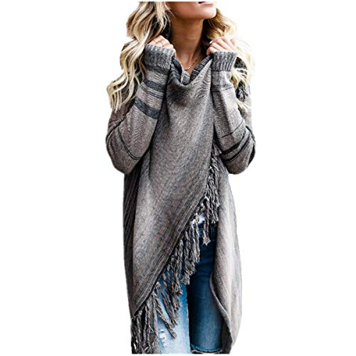 Fanessy Femme Parka Manteau Hiver Automne Gris Cardigan Cape Chale  Rayures Grande Taille Coat Trenche Chic lgant Casual Cape Poncho Gris