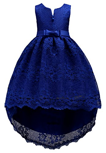 Price comparison product image OMZIN Girls Lace Dresses For Bridal Weddings Beach Baby Dress Dark Blue 10-11 Years
