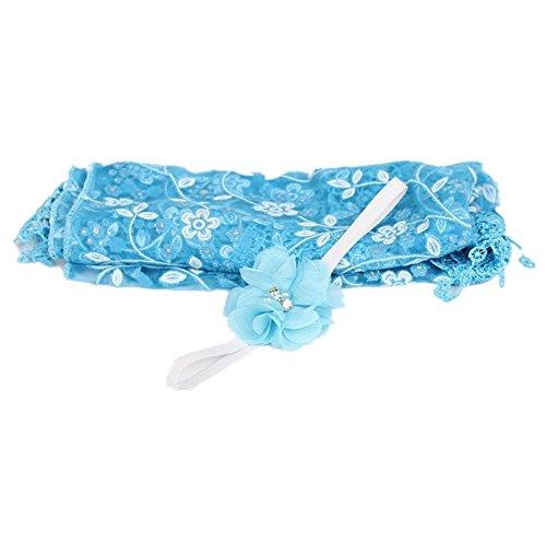 Newborn Photography Props Newborn Wrap Headband Baby Lace Yarn Cloth Blanket (blue)