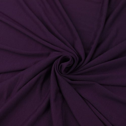 Eggplant Viscose Spandex Fabric, Causal Jersey Knit Fabric, Fabric by the Yard - 1 YARD