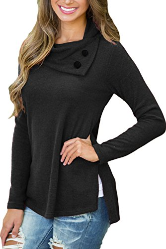 AlvaQ Women Long Sleeve Button Detail Neckline High Low Sweatshirt Tops