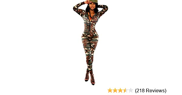 7b8c5d17c9e Z Army Green Camouflage Women Deep V-Neck Long Sleeve Bodycon Jumpsuits  Rompers  Clothing