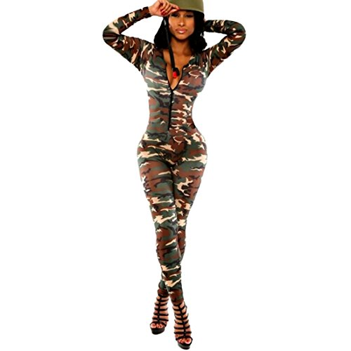 QIYUN.Z Army Green Camouflage Women Deep V-Neck Long Sleeve Bodycon Jumpsuits Rompers for $<!--$12.92-->