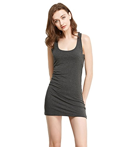 Liang Rou Women's Mini-Ribbed Stretch Scoop Neck Extra Long Racerback Tank Top Dark Gray S