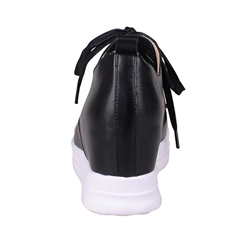 VogueZone009 Women's Soft Material Lace-up Round Closed Toe Kitten-Heels Solid Pumps-Shoes Black ag32e