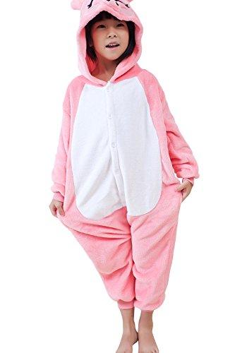 Pig Party Halloween City Costume (Kids' Unisex Kigurumi Costume Animal Pajamas Onesie(140#, pink)
