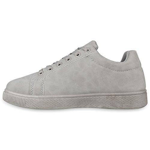 Stiefelparadies Damen Sneaker Low Glitzer Metallic Schuhe Gesteppte Sneakers Turnschuhe Denim Sportschuhe Schnürer Lack Flats Schnürschuhe Freizeitschuhe Flandell Grau