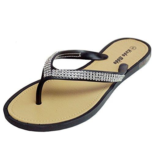 Kuda Moda Women's Summer Bling Shinning Casual Thong Flat Flip Flops Sandals Slipper (8 B(M) US | SS10, Black) (Bling Sandals Flip Flops)