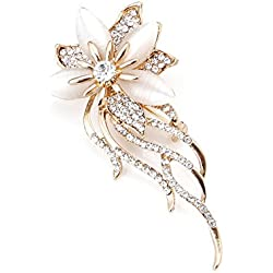 LAYs Cat's Eye Rhinestone Brooch Bouquet Flower Lapel Pin Vintage for Wedding Bridal Women