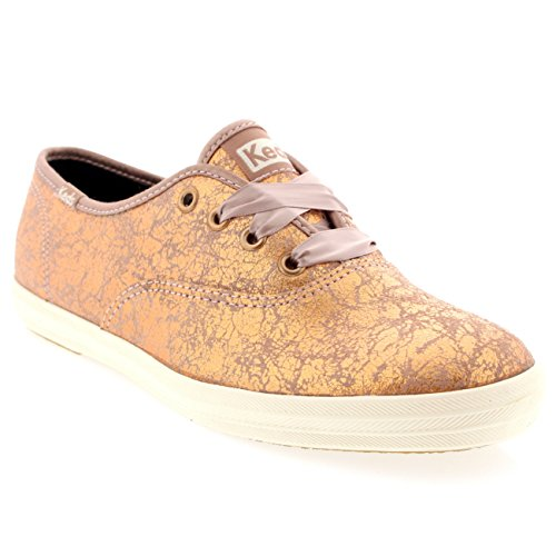 Womens Keds Champion Metallic Rose Gold Laced White Casual Sneakers - Rose Gold - 9.5