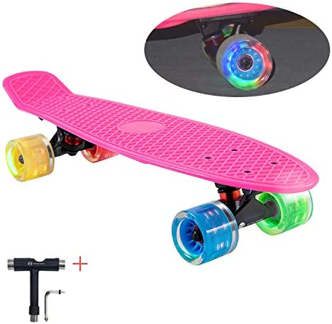 WHOME Kids Skateboards with 60x45mm LED Light Wheel – 22 4Th Generation Cruise Skateboard Complete for Girls, Boys, Adults, Youth, Kids and Beginners T-Tool Included