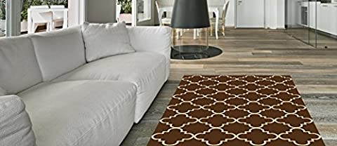 Anti-Bacterial Rubber Back RUGS RUNNERS Non-Skid/Slip 3x10 Runner Rug | Brown Moroccan Trellis Indoor/Outdoor Thin Low Profile Modern Home Floor Kitchen Hallways Colorful Decorative (Area Rugs Runners 10)
