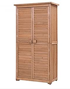 """SKB Family 63"""" Tall Garden Storage Shed Wooden Tools Shutter"""