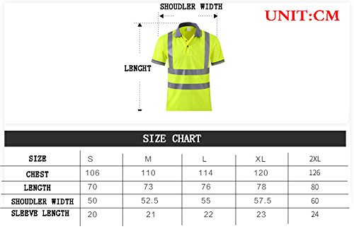 Hogear Reflective Short Sleeve T Shirt Tape Polo Safety High Visibility Apparel Running Jogging Work Wear by Hogear (Image #4)