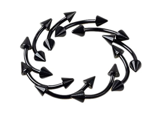Imixlot 20pcs 16G 3mm Spike Cone Curved Eyebrow Barbell Ring Piercing