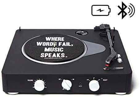 Gadhouse Brad Black Edition Wireless Streaming 3-Speed Turntable, Portable Vinyl LP Record Player with Built-in Speakers and Rechargeable Battery