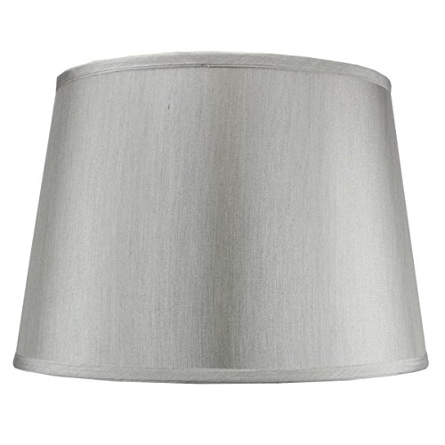 Silk Lamp Shade Table (13x16x11 Bavarian Grey Floor Lampshade with Brass Spider fitter By Home Concept - Perfect for table and Desk lamps - Large, Grey)