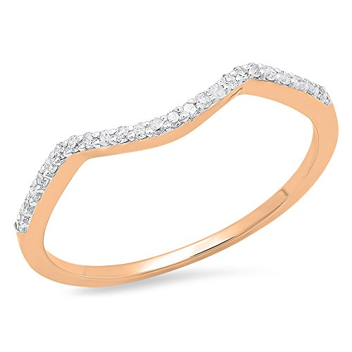 Dazzlingrock Collection 0.12 Carat (ctw) 10K Round Diamond Wedding Stackable Band Contour Guard Ring, Rose Gold, Size 6.5