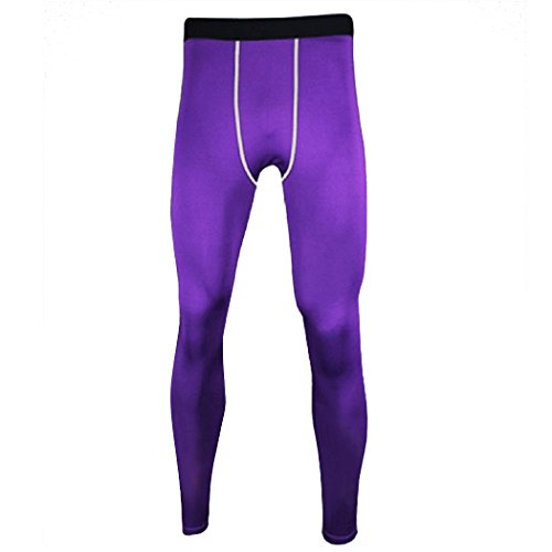 Guandoo Men's Compression Football Running Tights Stretch Sport Pants, Purple, - Pants Stretch Purple