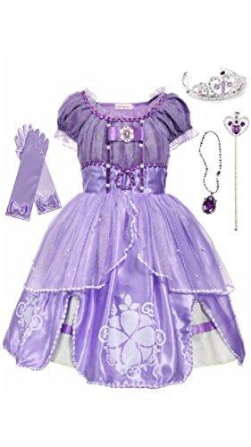 FashionModa4U Sofia Dress, Tiara, Wand, Necklace and Gloves, 3-4 Years.]()