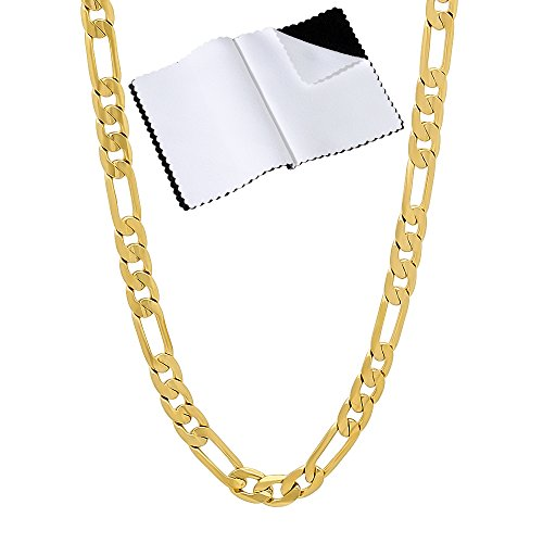 The Bling Factory 4mm 14k Gold Plated Flat Figaro Link Chain Necklace, 16