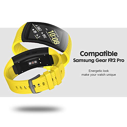 ANCOOL Compatible Samsung Gear Fit2 Pro Band/Gear Fit 2 Bands, Replacement Silicone Smartwatch Bands Compatible Samsung Gear Fit2 Pro (Large, Yellow)