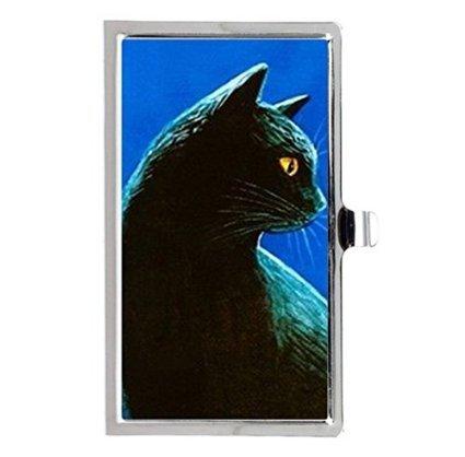 Black Cat黒猫カスタムイメージビジネスカードホルダー名ケース   B01JIGZ416