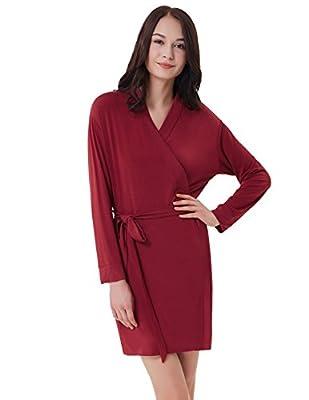 Zexxxy Women's Kimono Short Robe Soft Cotton Pajama Long Sleeve Bathrobe