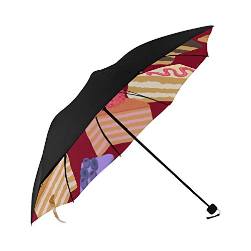 Chocolate Mousse Dessert Color Compact Travel Umbrella Sun Parasol Anti Uv Foldable Umbrellas(underside Printing) As Best Present For Women Sun Uv Protection