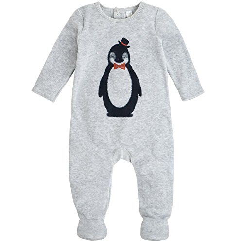 Petit Lem Baby Boys' Penguin Velour Footie, Holiday, New Born (Boy New Baby Penguin)